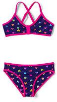 Classic Girls Slim Bikini Swimsuit Set-Dark Purple Grape Hearts