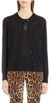 Dolce & Gabbana Lace Inset Cashmere Blend Cardigan