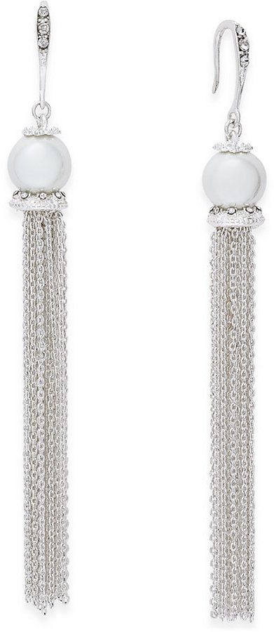 INC International Concepts Silver-Tone Pavé & Imitation Pearl Chain Tassel Drop Earrings, Created for Macy's