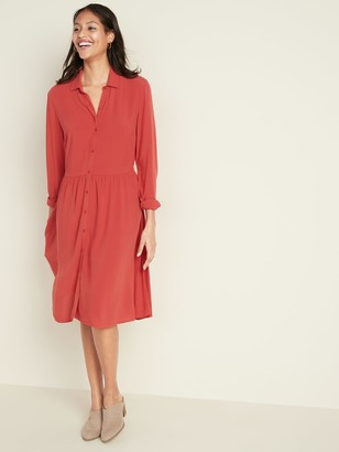 Old Navy Waist-Defined Crepe Shirt Dress for Women