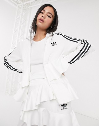 adidas x J KOO velour trefoil ruffle track top in off white