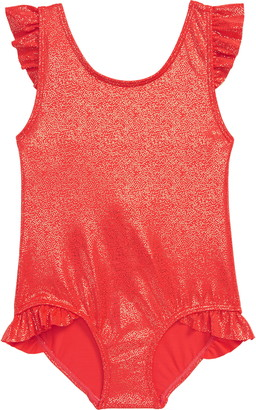 Boden Foil Frill One-Piece Swimsuit