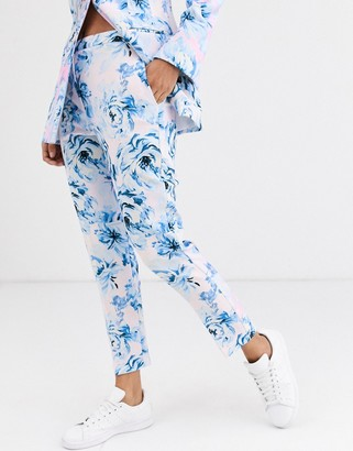 Asos Design DESIGN pink floral suit pants