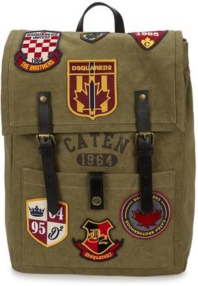 DSQUARED2 Olive Appliqued Canvas Backpack