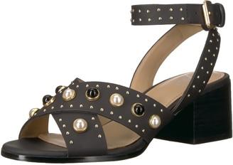 The Fix Amazon Brand Women's Makayla Block Heel Pearl Studded Chunky Heeled Sandal