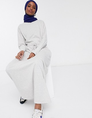 ASOS DESIGN maxi dress with drawstring waist in gray