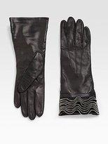 Zipper-Ruffled Gloves