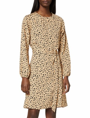 Dorothy Perkins Women's Black Abstract Print Long Sleeve Pleat Neck Fit and Flare Dress Casual 14