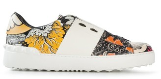 Valentino Open floral-print low-top sneakers