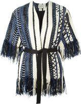 Sea fringed belted knit jacket