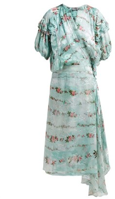 Preen by Thornton Bregazzi Ashley Floral-print Silk-devore Wrap Dress - Light Blue