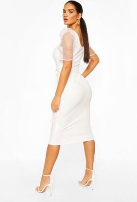 boohoo Organza Mesh Puff Sleeve Midi Dress