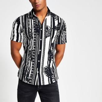 River Island Black printed ribbed collar slim fit shirt