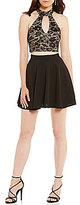 B. Darlin Halter Lace Top Two-Piece Dress