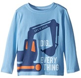 Life is Good I Dig Everything Crusher T-Shirt Long Sleeve (Toddler) (Powder Blue) Kid's T Shirt