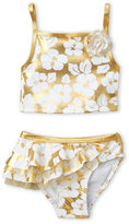 Flapdoodles Toddler Girls) Two-Piece Metallic Gold Floral Bikini