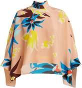 DELPOZO Cape-sleeve Hibiscus-print silk blouse