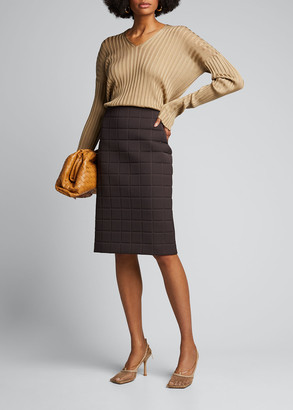 Bottega Veneta Silk Ribbed Long-Sleeve Sweater
