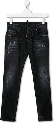 DSQUARED2 TEEN logo patch distressed jeans