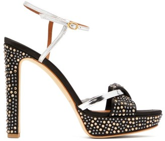 Malone Souliers Lauren Crystal-embellished Satin Platform Sandals - Womens - Black Silver