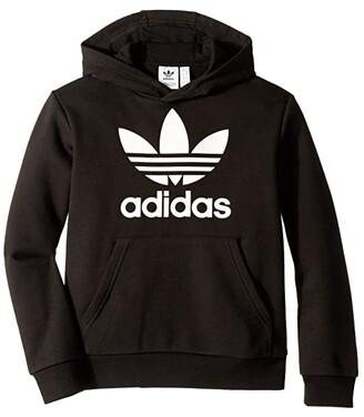 adidas Kids Kids Trefoil Hoodie (Little Kids/Big Kids) (Black/White 2) Kid's Sweatshirt