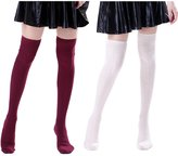 HDE Womens Cable Knit Stockings Over the Knee Thigh High Socks (Wine Red, White)