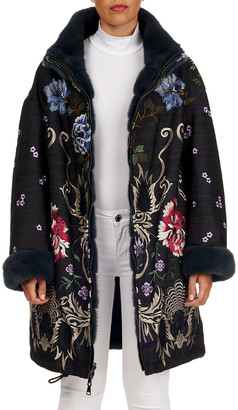 Gianfranco Ferre Embroidered Denim Stroller Coat with Mink Fur Reverse