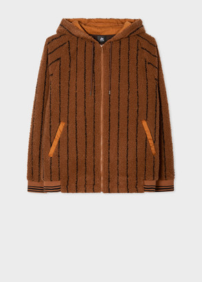 Paul Smith Men's Orange Stripe Pile Red Ear Hooded Jacket
