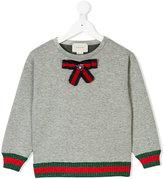 Gucci Kids Web trim bow sweatshirt