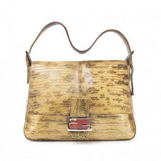Fendi Mamma Baguette Yellow Crocodile Handbags