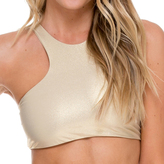 Luli Fama High Neck Sporty Bra In Gold Rush (L176480)