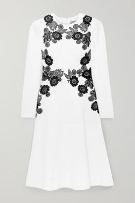 Lela Rose Lace-trimmed Wool-blend Crepe Dress - Ivory