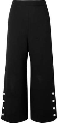 Lela Rose Cropped Faux Pearl-embellished Wool-blend Crepe Wide-leg Pants