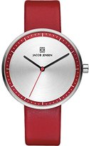 Jacob Jensen Strata Women's Quartz Watch with Silver Dial Analogue Display and Red Leather Strap 283