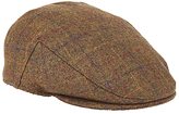John Lewis Large Check Flat Cap, Brown