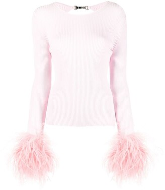 Blumarine Removable Feather Cuff Knitted Top
