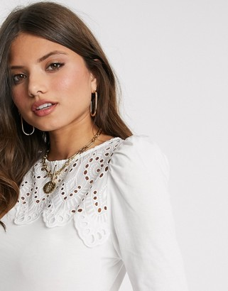 Warehouse victoriana lace yolk blouse in white