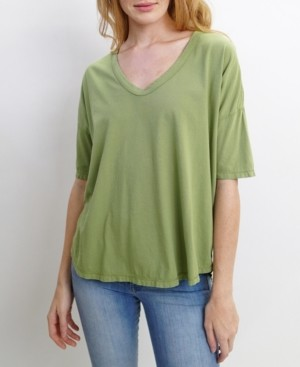 Coin 1804 Womens Elbow Sleeve V-Neck Dolman T-Shirt