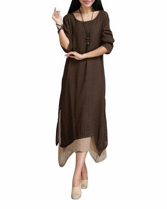 Romacci Women Vintage Dress Contrast Double Layer Casual Loose Boho Long Plus Size Retro Maxi Dress Coffee