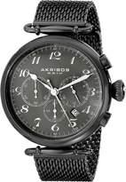 Akribos XXIV Men's AK627BK Retro Chronograph Stainless Steel Mesh Strap Watch