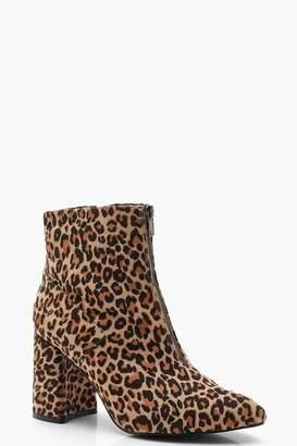 boohoo Zip Front Leopard Block Heel Shoe Boots