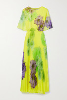 Thumbnail for your product : Jason Wu Collection Pleated Floral-print Chiffon Maxi Dress - Bright yellow