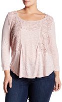 Jessica Simpson Slub Knit Embroidered Blouse (Plus Size)