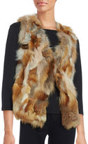 Adrienne Landau Fox Fur-Trimmed Knit Vest