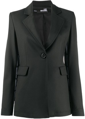 Love Moschino Side Logo Stripe Notched Lapel Blazer