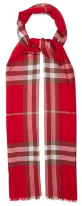 Burberry Giant Check Wool-blend Woven Scarf - Womens - Red Print