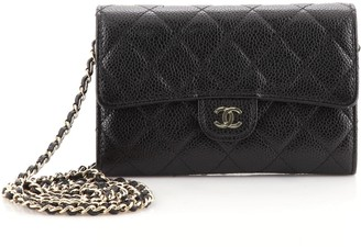 Chanel Classic Flap Wallet Crossbody Bag Quilted Caviar Mini