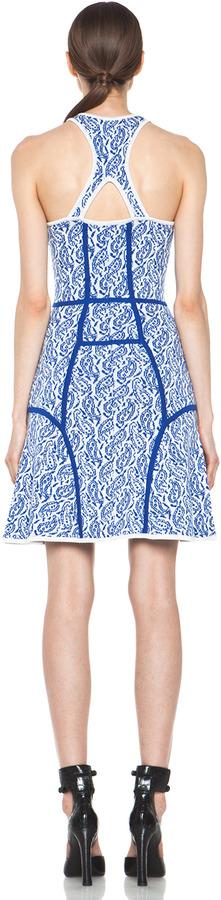 Yigal Azrouel Intarsia Paisley Merino Wool-Blend Dress in Capri Multi