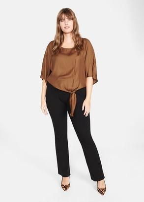 MANGO Violeta BY Bow satin blouse medium brown - 10 - Plus sizes