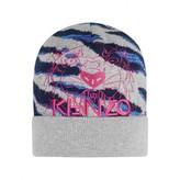 Kenzo KidsGirls Grey Tiger Stripe Knitted Hat